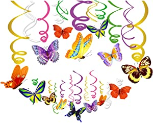 CC HOME Butterfly Decoration,Butterfly Hanging Swirl Decorations for,Girl,Boys Baby Shower,Birthday Party,Birthday Party,Wedding Decorations,Butterfly Decoration Supplies 30PC