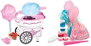 Nostalgia PCM325WP Vintage Hard and Sugar Free Countertop Cotton Candy Maker with Cotton Candy Party Kit