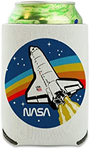 NASA Logo Over Space Shuttle with Rainbow Can Cooler - Drink Sleeve Hugger Collapsible Insulator - Beverage Insulated Holder