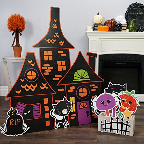 Trick or Treat Halloween Room Decor - Haunted House Standup with Photo Props (Halloween Haunted House Decorations)