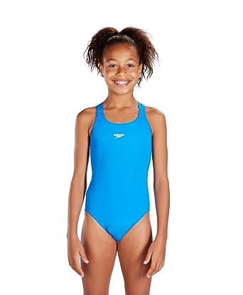 0a2b7f11e8 Speedo Girls Essential Endurance+ Medalist Swimsuit, Neon Blue, 24 inch