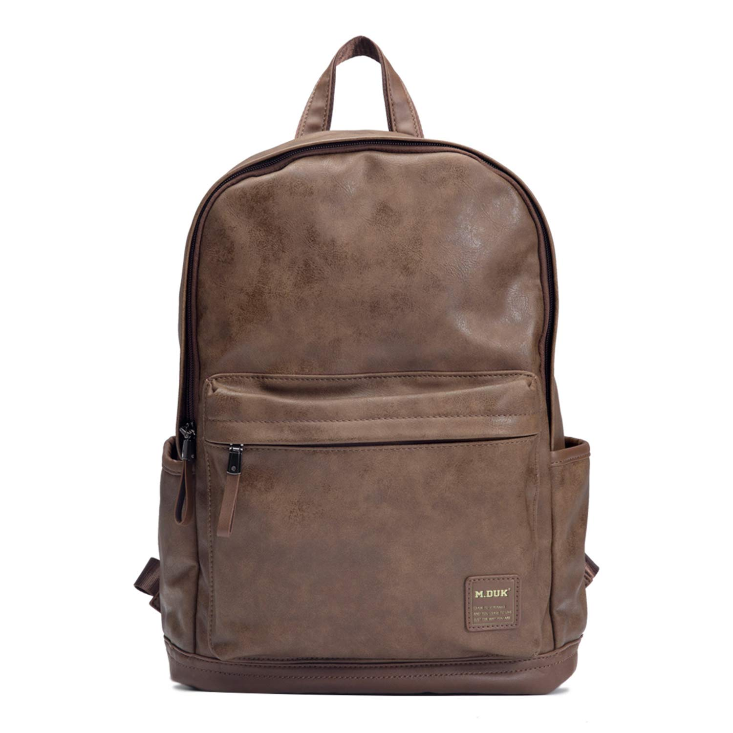 Leather Backpack, FIXM Vintage PU Leather Laptop Backpack for Men with Multiple Pockets, 15.2 10.8 4.9 Soft, Comfy Durable, Perfect for School, Casual, Business Travel – Brown 5