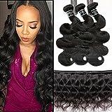 "BQ Brazilian Virgin Hair 8A Body Wave 4 Pack Bundles(100g/Bundle, Total 400g) 100% Unprocessed Remy Human Hair Natural Black Color (16""18""20""22"")"