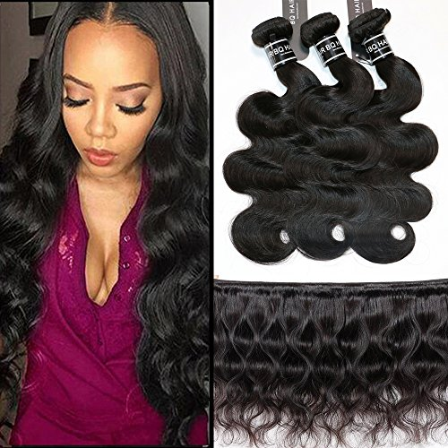 Bq Light - BQ Brazilian Virgin Human Hair 8A Body Wave 3 Bundles(100g/Bundle, Total 300g) 100% Unprocessed Hair Weave Extensions Natural Color Can Be Dyed and Bleached (24