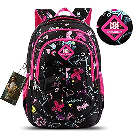 Bebamour Butterfly and Sweetheart Pattern Kids' Backpack School Bags (Black) (Backpack With Butterflies)
