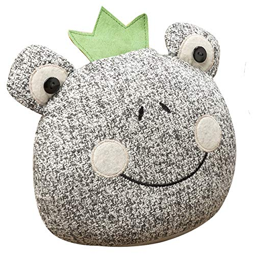 Frog Prince Door Stopper, Green Crown, Light Grey Fabric, Felt Patches and Embroidery Details, 9 1/2 Inches Tall, 2.2 Pounds, Filling Content 40 Percent Sand and 60 Percent Polyester Filling