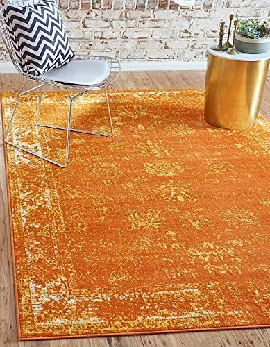 Unique Loom Sofia Collection Orange 5 x 8 Area Rug (5' x 8')