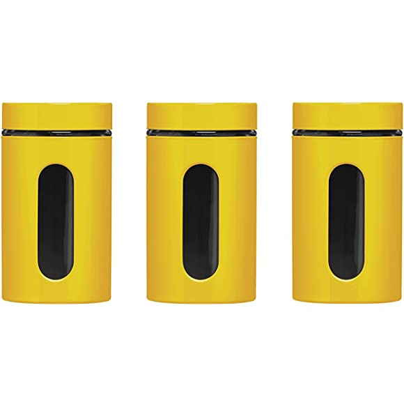 Premier Housewares Set of 3 Yellow Storage Canisters