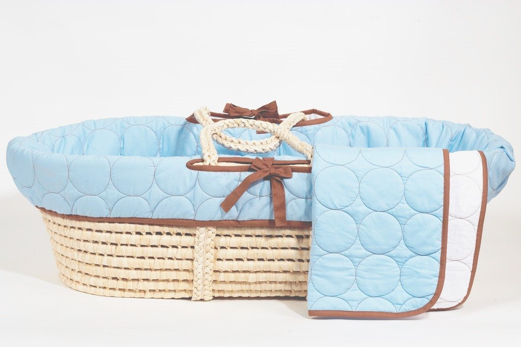 Bacati - Quilted Circles Blue/chocolate Moses Basket