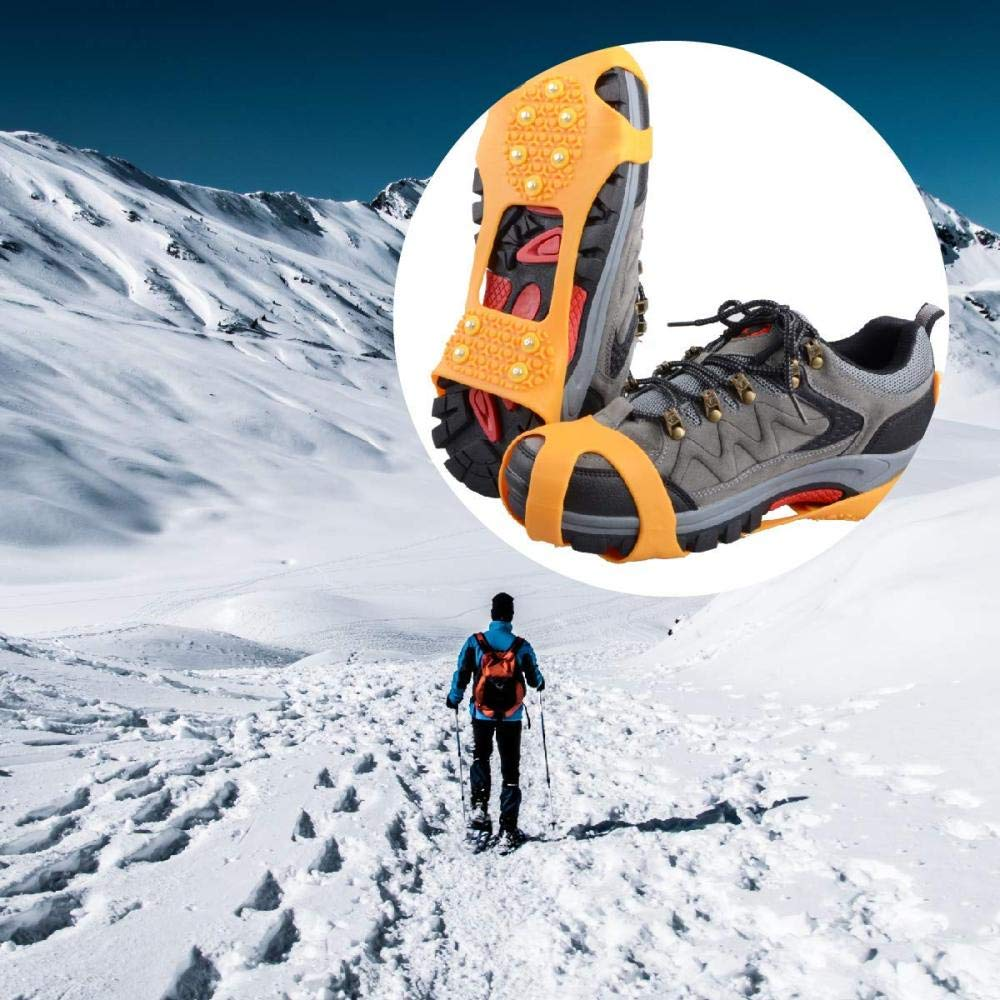 BEHRAS Steigeisen mit 10 Z/ähnen Schuhkrallen Schuhspikes Schneeketten Anti Rutsch Spikes Ice Grips f/ür Wandern EIS Schnee