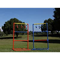 LOKATSE HOME Ladder Ball Toss Game Set with Carry Case for Outdoor Yard Lawn Included 2 Ladder Targets and 6 Bolas, Red & Blue