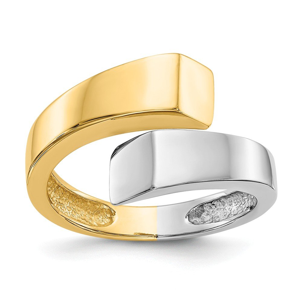14k Two-tone Square Overlapping Ring