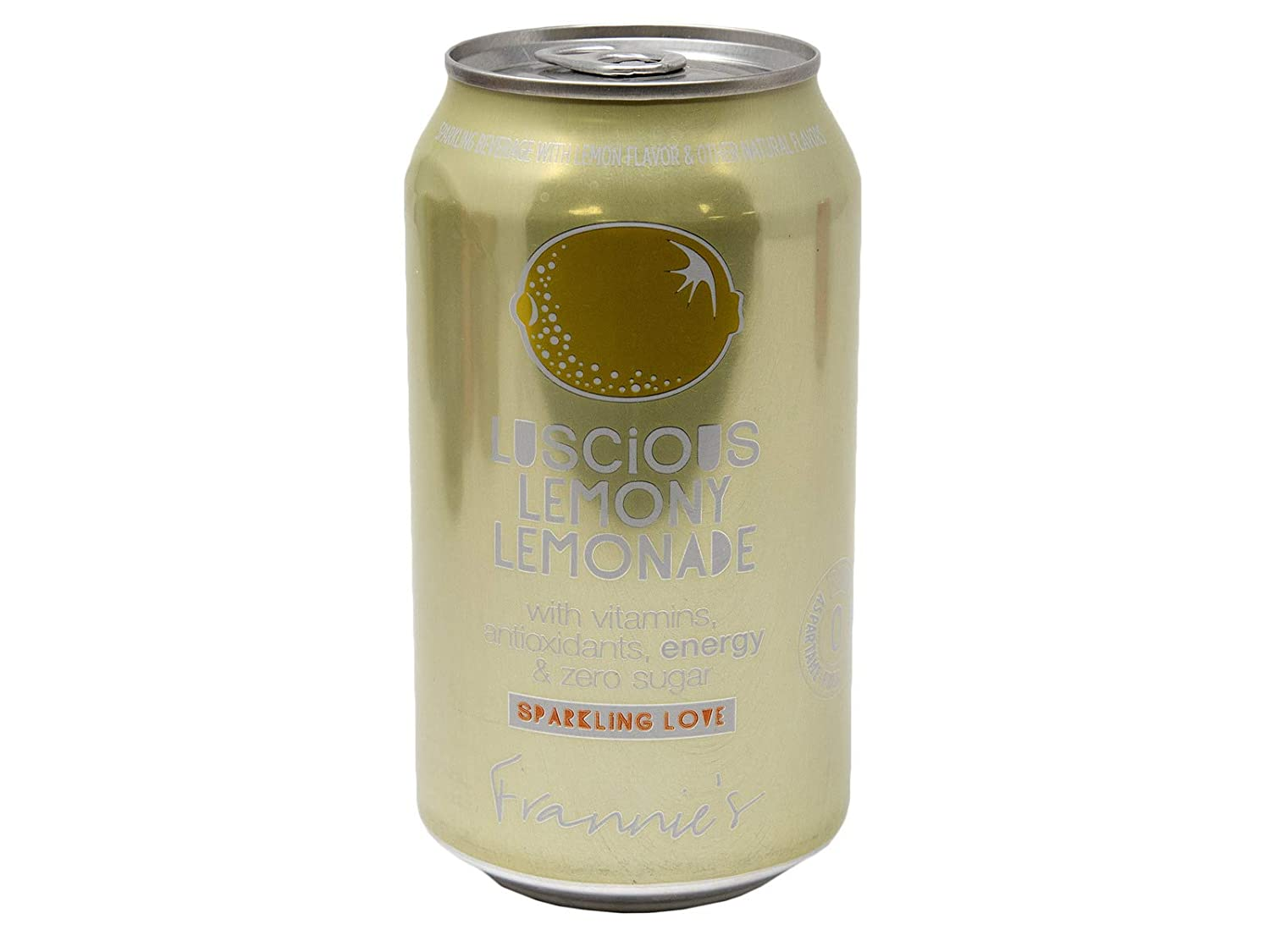 Frannie's Sparkling Luscious Lemony Lemonade, Protected With High-Density Foam, With Vitamins, Antioxidants, Energy, and Zero Sugar, 12 Oz. Cans (Pack of 16 Cans)