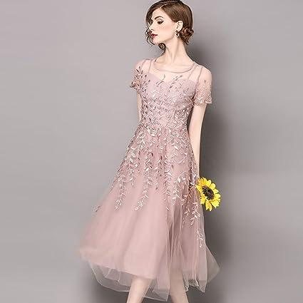 WYYY Vestidos Larga Sección Falda Grande Malla Bordado Rosa Damas Vestido De Fiesta (Tamaño :