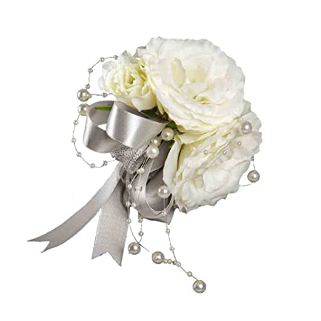 Amazon.com: Traje de novio Boutonniere Seda Artificial flor ...