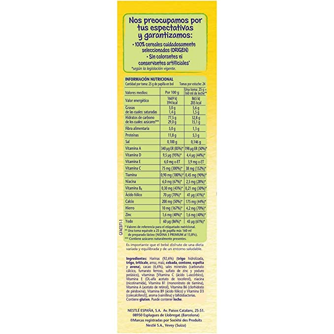 NESTLÉ Papilla 8 Cereales con Cacao - Alimento para Bebés - Paquete de 6 x 600 g - Total: 3.6 kg: Amazon.es: Alimentación y bebidas