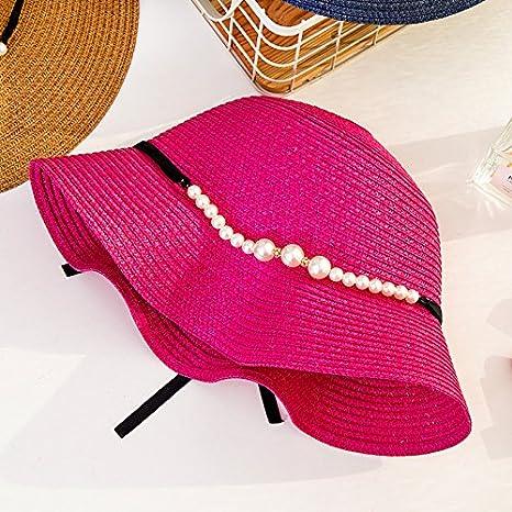 LOF-fei Donna Estate Cappello da Sole Cappucci di Paglia Spiaggia  Pieghevole all aperto a2e4992e8755