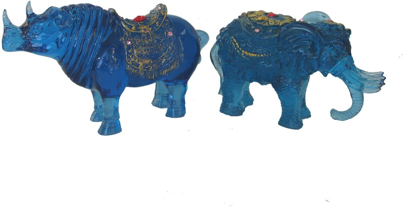 Feng Shui Blue Rhino and 6 Tusks Elephant for Flying Star #7