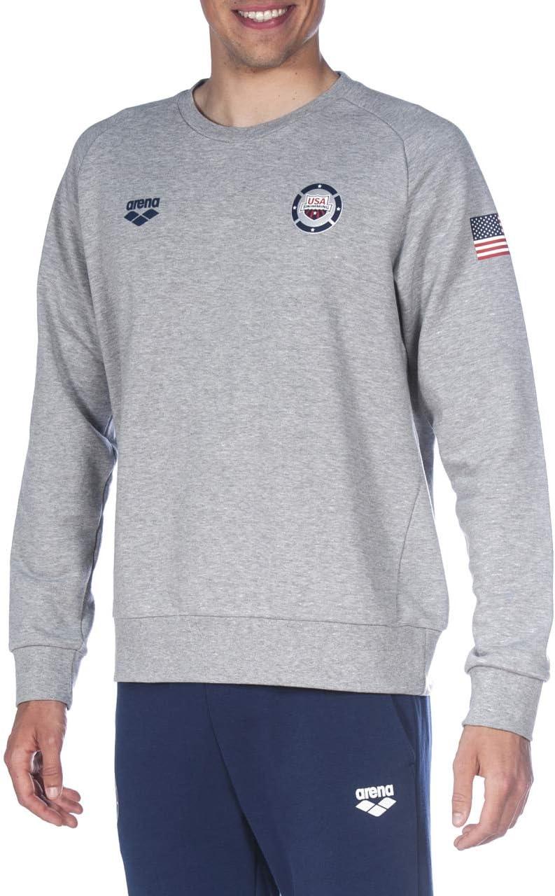 ARENA Herren Official Usa Swimming National Team Men's Crew Neck Sweatshirt Hemd Mittelgrau Meliert Usa