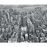 J.P. London uStrip Peel and Stick Mural MD4067 Concrete Grey New York Skyline Buildings Removable Full Wall Mural, 10.5-Feet by 8.5-Feet