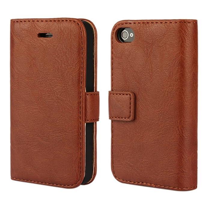 FDTCYDS iPhone 4 hülle, iPhone 4s Handyhülle, Premium Leder Handy Schutzhülle Flip Case Tasche für iPhone 4,iPhone 4s - Braun