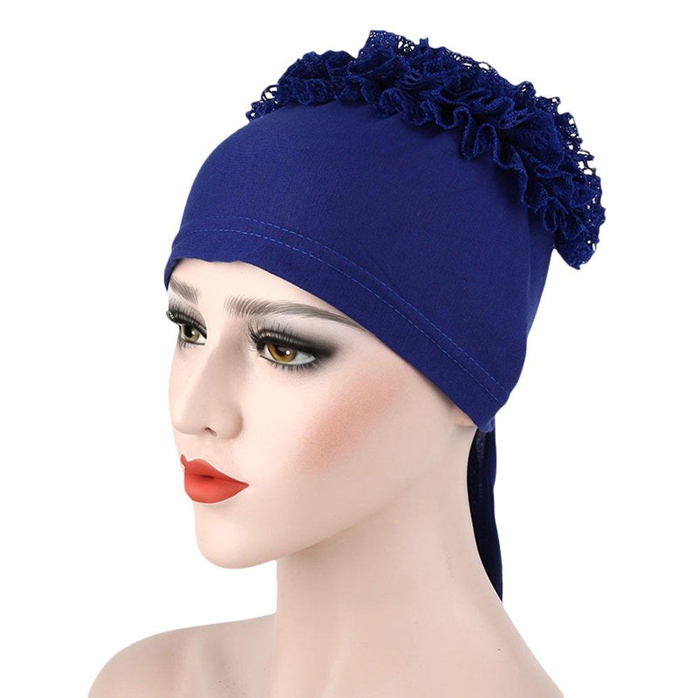 Funie encaje floral hijab Cap de color sólido estiramiento de la cabeza de la mujer sombrero de quimio bufanda