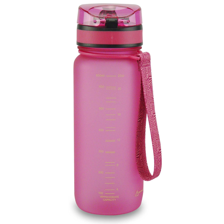 SMARDY Tritan Botella de Agua para Beber Rosa - 650ml - de plástico sin BPA - Tapa de un Clic - fácil de Abrir - ecológica - Reutilizable: Amazon.es: Jardín