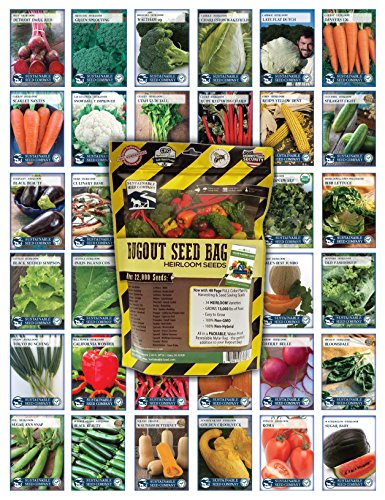 22,000 Non GMO Heirloom Vegetable Seeds, Survival Garden, Emergency Seed Vault, 34 VAR, Bug Out Bag (Seed Vault)