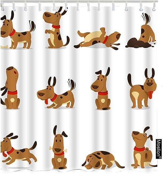 Amazon Com Moslion Dog Bath Shower Curtain Set Cartoon Cute Animal Dogs Jumping Wiggle Sleeping Running Barking Shower Curtains Home Decorative Waterproof Polyester Fabric Hooks 72x90 Inch Brown Home Kitchen