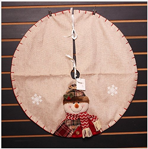 Y&M Christmas Tree Skirt, (TM) Xmas/Santa Decorations Mini Tree Skirts in Victorian,23-Inch Round,Cute Christmas Snowman with Greeting (Snowman)