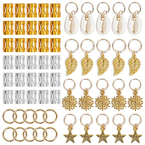 (Ryalan 80 Pieces Hair Jewelry Rings Decorations Pendants, Including 50 PCS Aluminum Dreadlocks beads Metal Cuffs + 30 PCS Hair Decorations Rings Clips (80 Pieces))