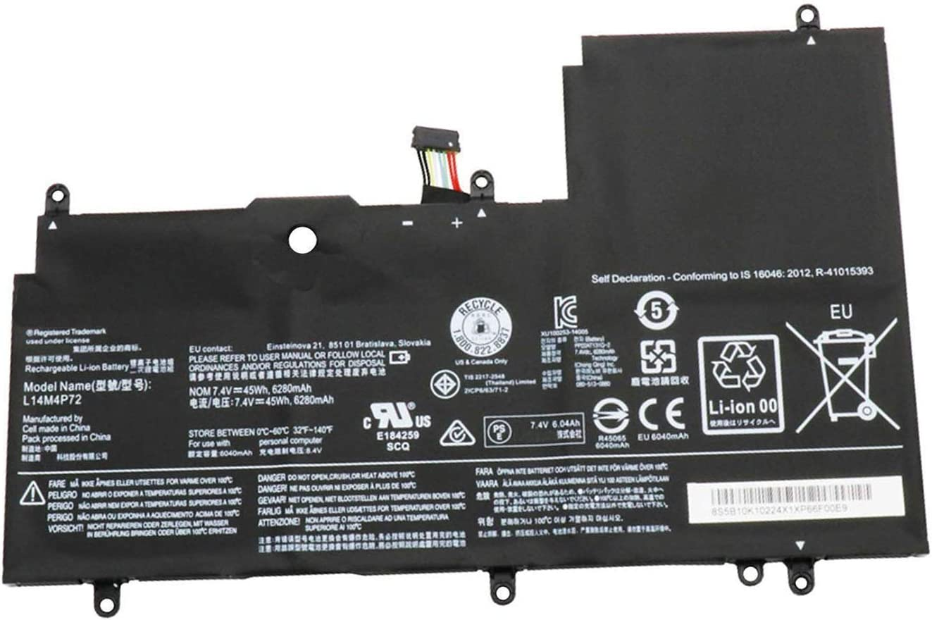 BOWEIRUI L14M4P72 (7.4V 45Wh 6280mAh) Laptop Battery Replacement for Lenovo Yoga 3-1470 IdeaPad Yoga 700-14ISK Series L14S4P72