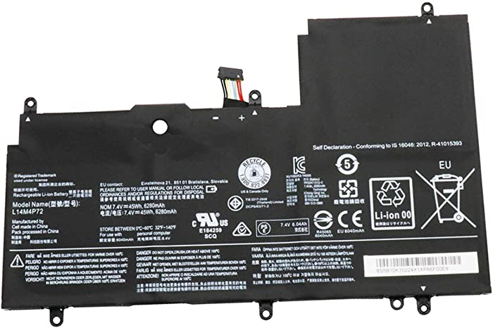 BOWEIRUI L14M4P72 (7.4V 45Wh 6280mAh) Laptop Battery Replacement for Lenovo Yoga 3-1470 IdeaPad Yoga 700-14ISK Series L14S4P72