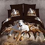 Wowelife 3D Horses Printed 4 Piece Duvet Cover Sets Cotton 4 PCS Bedding Set, Bed Sheet, Pillow Cases (Comforter Not Included) (Twin)