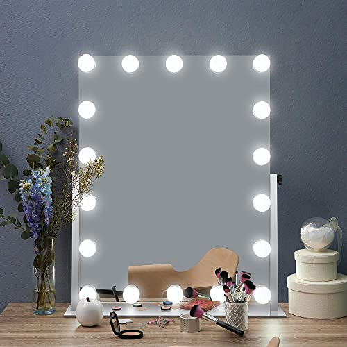 AI-LIGHTING Hollywood Lighted Vanity Makeup Mirror Light, Makeup Dressing Table Vanity Mirrors with Dimmable Bright LED Lights, Multi Color Mode Tabletop Cosmetic Mirror with Light