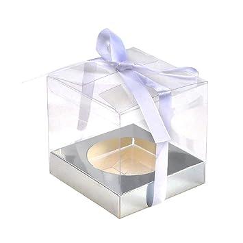 jingxu 12pcs PVC transparente caja para 2 cupcakes dulzura y luz cajas de cartón cuadradas para