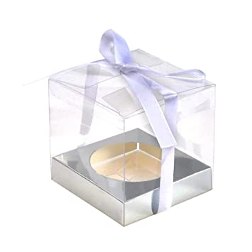 jingxu 12pcs PVC transparente caja para 2 cupcakes dulzura y luz cajas de cartón cuadradas para tartas desechables caja: Amazon.es: Hogar