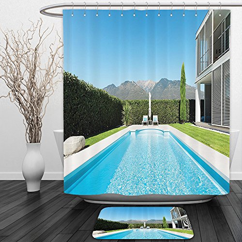 Vipsung Shower Curtain And Ground Mathouse Decor Collection Modern Villa With Pool View From The Garden Real Estate Contemporary Property Photo Print Green Aquashower Curtain Set With Bath Mats Rugs