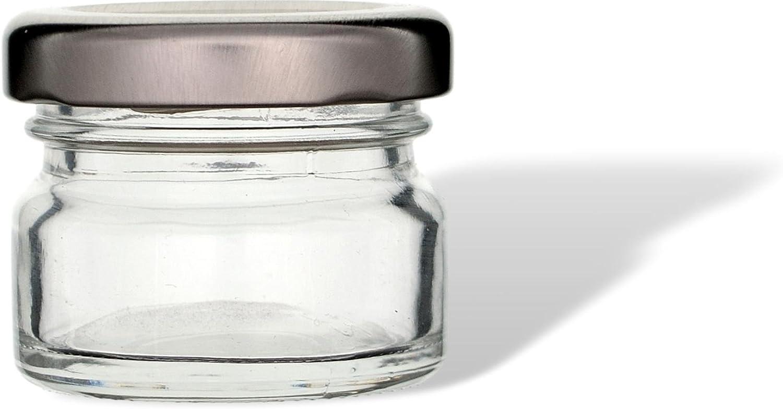 tarros de inversi/ón tarros de conserva tarros de mermelada tarros de especias gouveo Juego de 24 tarros Mini 30 ml con cierre giratorio TO 43 dorado tarros de almacenamiento