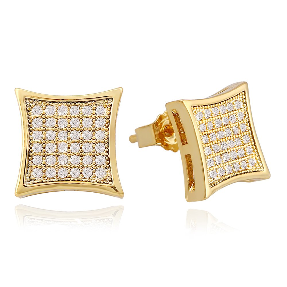 LuReen Gold Silver 11mm Square Iced Out CZ Stud Earring of Mens Boy aretes para hombre … B07GDHYT57_US