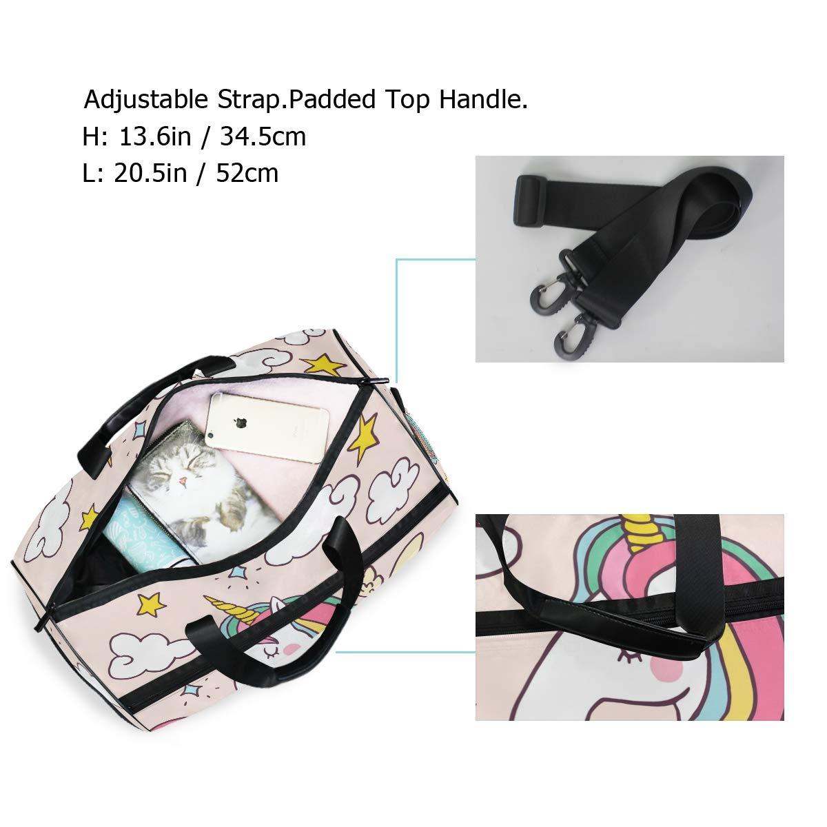 Gym Vacation Travel Duffel Bag Rainbow Unicorn Waterproof Lightweight Luggage bag for Sports