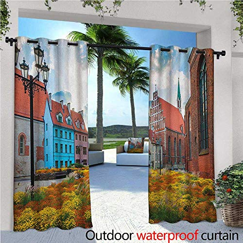 (Victorian Outdoor Privacy Curtain for Pergola Old City Riga Latvia Capital with Historical Buildings Medieval Town Image Print Thermal Insulated Water Repellent Drape for Balcony W96