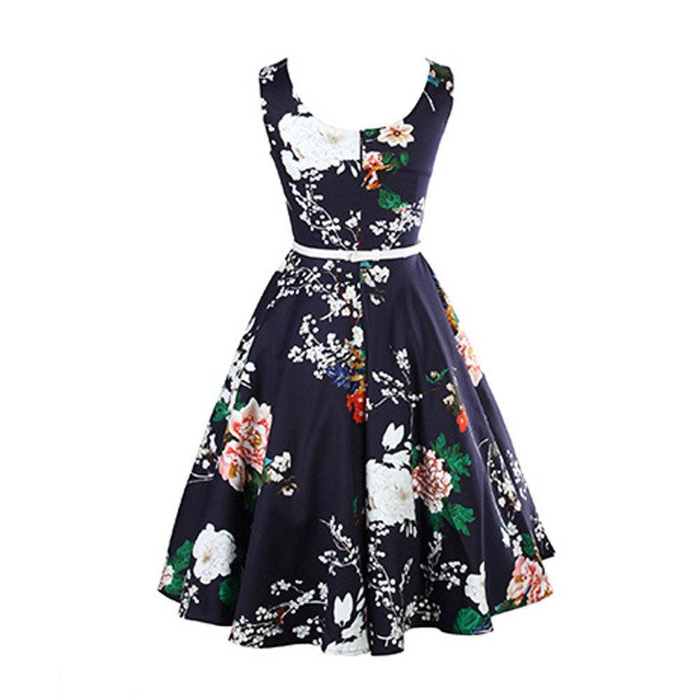Damen Kleider Abendkleid Damen Kleider Elegant Druckent Vintage
