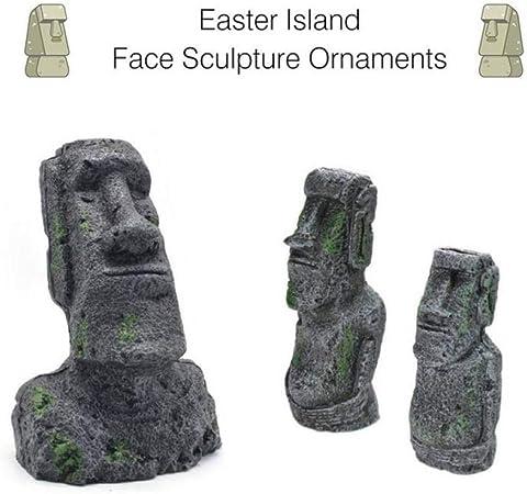 PiniceCore Decoración de Escritorio del Partido de Pascua Isla de Pascua Moai monolito Estatua Ornamento Resina decoración del Acuario del Tanque de Peces 17,5 x 7,5 cm: Amazon.es: Hogar