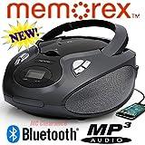 Memorex Bluetooth CD/AM/FM/MP3 Flexbeats Portable Boombox with Digital Display & Aux Input MP3451Blk - Black