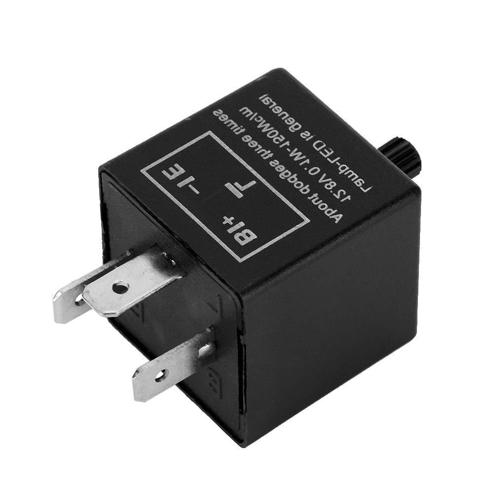 12V 3 Pin LED Blinkrelais Einstellbare LED-Leuchtrelais Blinkerrelais Signalanzeigerelais CF13-JL02 Fix f/ür Signalanzeiger-Blinker