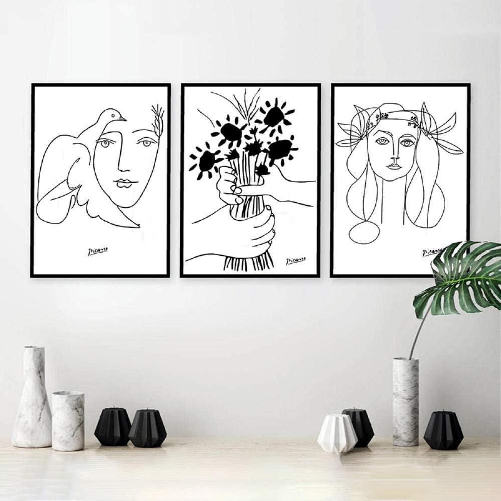 Picasso Línea Arte Dibujo Lienzo Arte Impresiones Mujer y Ramo de Paz Pintura Poster Minimalista Pared Arte Salon Habitación Cuadros Decoracion 40X60cmx3 No Enmarcado