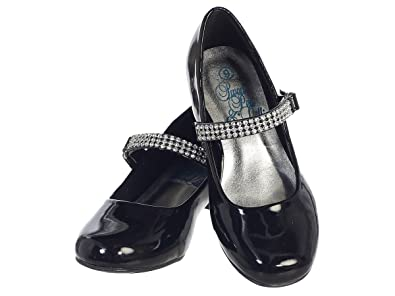 86b53b08fa461e Girls Low Heel Girls Dress Shoe with Rhinestone Strap (9