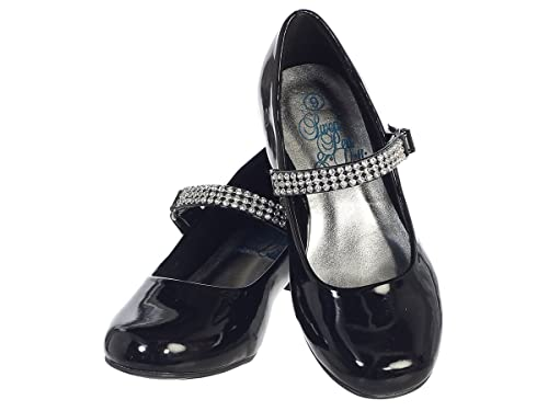 8a98f3a43de9a7 Swea Pea & Lilli Girls Low Heel Girls Dress Shoe with Rhinestone Strap (1,
