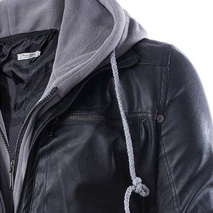 Yutao Mens Moto Racer Faux-Leather Two-Pocket Trucker Hoodie Fashion Outerwear Jacket at Amazon Mens Clothing store: